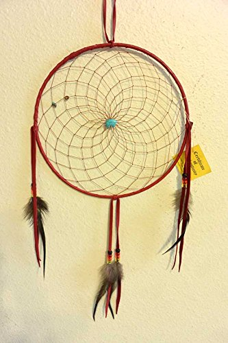 All Tribe Silver Dream Catcher Native American Authentic Navajo Handmade 25' L x 10' D Red Made in USA