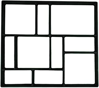 Transser 10 Grids DIY Walk Maker Rectangle Block Pathmate Stepping Concrete Cement Paver Stone Mold for Paving Pavement Patio Walkway, 16x18inch (Black - 4)