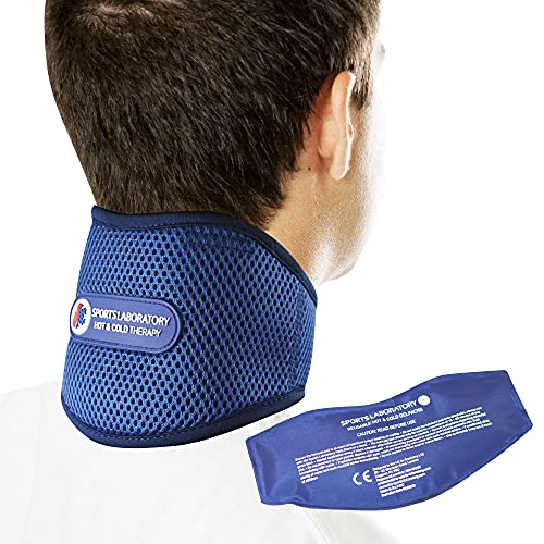 Sports Laboratory Neck Support Brace for Neck Pain with Integrated Hot & Cold Therapy Pack | Adjustable Cervical Collar | Free Neck Pain Guide Large (18-24 inch)