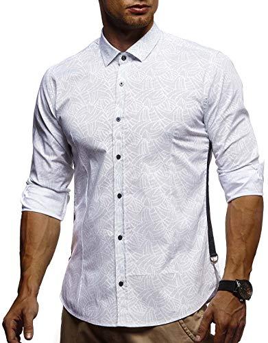 Leif Nelson LN3465 Witte herenhemd, slim fit, lange mouwen, zwart, stretch, korte mouwen, vrijetijdshemd met lange mouwen