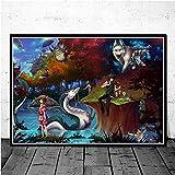 jiuyangshengong Princesa Mononoke Studio Ghibli Anime Posters e Impresiones Lienzo Pintura Cuadros de Pared para la decoración de la Sala de Estar Decoración del hogar (50X70Cm) Sin Marco OAD1353