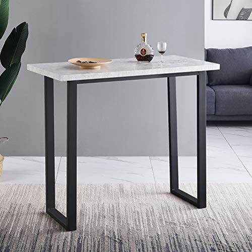 Bartisch Esstisch Küchentisch Stabiler Stehtisch Küchentresen MetallBein EinfacherAufbau Schmal Graues Marmormusterdesign Gray (Gray, Bein B)