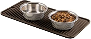 mDesign Premium Quality Pet Food and Water Bowl Feeding Mat for Dogs and Puppies - Waterproof Non-Slip Durable Silicone Placemat - Food Safe, Non-Toxic - Small - Espresso Brown