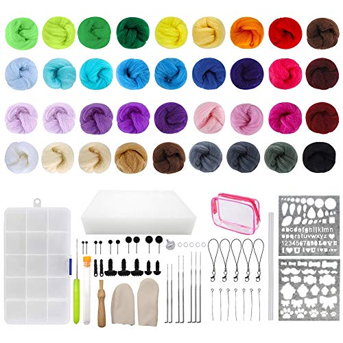 Lana de Fieltro de Colores, 36 colores de lana de lana para fieltro de aguja Kit de inicio 50 piezas de herramientas de fieltro de lana para fieltro de aguja de bricolaje (87 piezas)