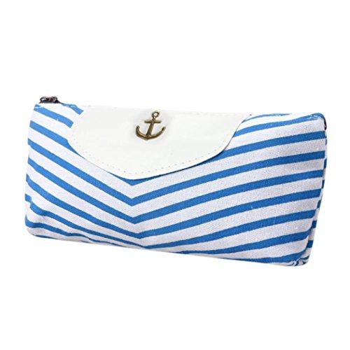 DDLBiz Astuccio, Studente Navy Canvas matita della penna della borsa della moneta del sacchetto del sacchetto (cielo blu)