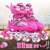 Patines de Rodillos de una hilera de Adulto Negro Luminosos de Las Mujeres Boy de Rodillos Zapatos Muchacha de los niños de los Hombres ( Color : Set B Pink L )