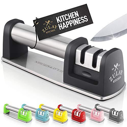 Zulay affilacoltelli da cucina per dritto e coltelli seghettati–fase affilare i coltelli in acciaio per, spelucchino, coltello chef e tasca, affila forbici