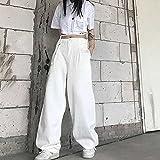 Pantalones para Mujer Nuevo Verano Ins Estilo japonés Harajuku Pantalones Sueltos de Cintura Alta adelgazantes Blancos Pantalones Anchos de Pierna Recta-Negro_L.