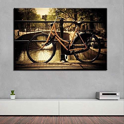 YGKDM Wohnkultur canvas schilderij 1 stuks HD prints fiets muurkunst boom modulaire landschap foto's nacht achtergrond kunstwerk poster 40x60 cm x 1 ingelijst
