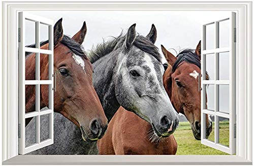 DNVEN Fake Window Wall Sticker Horse Wall Art Horses Wall Decals Window Frame Wall Mural Vinyl Removable Peel and Stick Art Decor for Living Room 23 x 15 inches