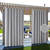 HAKUNA 2 Panels Tab Top Patio Curtains Outdoor Waterproof, Blackout Light Grey Outdoor Curtains for Privacy 52 x 96 Inch, Thermal Insulated Porch Curtains Outdoor for Pergola, Yard, Garden, Pool