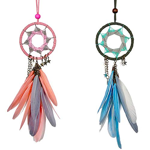 Rozwkeo 2 Pieces Small Dream Catcher for Car Interior Rearview Mirror Hanging Decor Boho Handmade Grids Nature Grey Feather Dream Catchers for Cars Pendant Charm Car Hanging Decoration Accessories