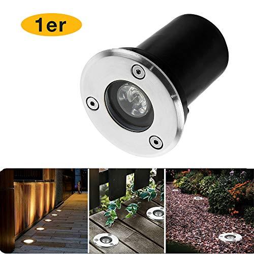 Wilktop 1W Spots LED Encastrables, Extérieure Ronde de Lumières de Jardin de Extérieur IP67 Imperméable LED pour Outdoor Enterré Yard Lampe Spot Paysage Lumière (Blanc Chaud)