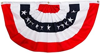 """Briarwood Lane Patriotic Bunting USA 48"""" x 24"""" Pleated Banner with Grommets"""