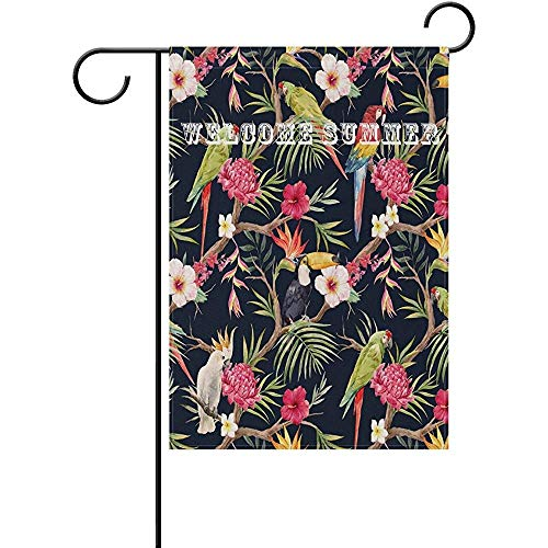 Emonye Garden Flag Yard Decoration, Tropical Tree Plants Blooming Flowers Parrot Toucan Polyester Welcome Flag Banner for Outdoor Lawn Party Decor