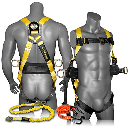 KwikSafety (Charlotte, NC) HURRICANE COMBO | 3D Back Support Full Body Safety Harness, 6' Lanyard, Tool Lanyard, ANSI OSHA PPE Fall Protection Arrest Restraint Equipment Universal Construction Roofing