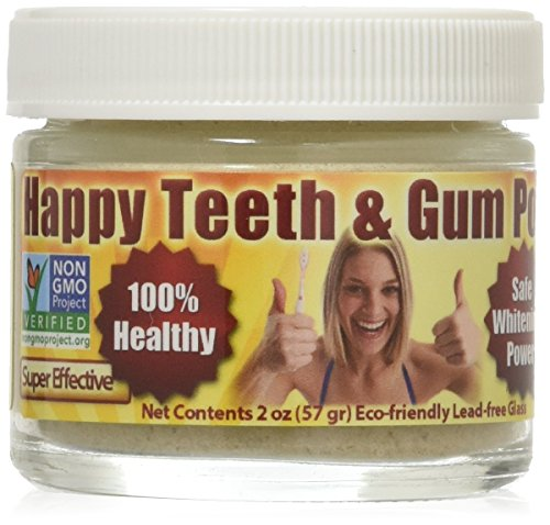 Gum Disease & Gum Recession Help - Organic Tooth Powder - Happy Teeth & Gum Powder - Gingivitis - Plaque - Bleeding - Sensitivity - Inflammation - Bad Breath - Peppermint - Whitening - Anti-Cavity