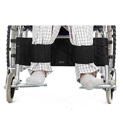 Cinturón de seguridad para silla de ruedas, con correa para la pierna, cinturón de seguridad para los pies, para pacientes, ancianos y ancianos, color negro