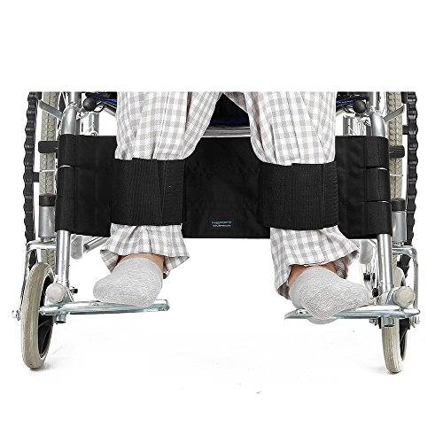 Wheelchair Footrest Leg Safety Belt for Elderly Patient Restraints Medical Seatbelt Wheelchairs Leg Support Positioning Strap Transport Foot Harness for Seniors Handicap (Black)