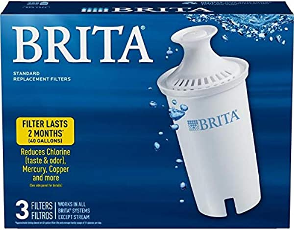 Brita Standard Pitcher Filters 3 Pack For Pitcher Replacement Filter