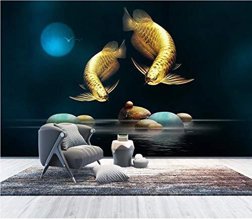 Art Fototapete Vlies Tapete Wohnzimmer 200X150 cm–4 Teile–Mond Arowana Schwarz, Wandbilder 3D Natürliche Landschaft Wandgemälde Für Schlafzimmer Büro Wandtapete Wanddekoration