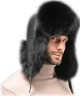 1e27216e MH Bailment Mens Winter Hat Real Fox Fur Genuine Leather Russian Hats  Raccon Fur Earmuffs Winter