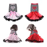 DaFuEn 2 Packs Summer Dog Dress - Dog Dresses for Medium Dogs Girl - Dog Dresses for Small Dogs - Cats and Dog Wedding Dress - Love Girl Dog Clothes (X-Small)