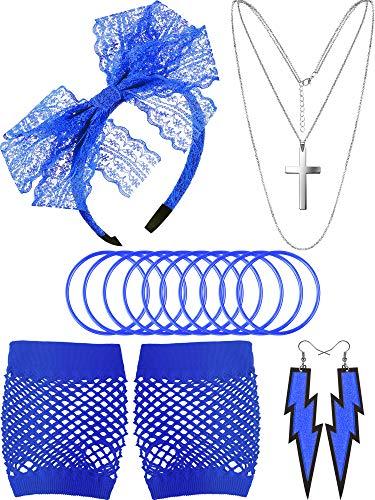 Accessoires de Costume des Années 80, Gants en Résille Serre-Tête en Dentelle Boucles d'Oreilles Collier Bracelet pour la Fête des Années 80 (Bleu)