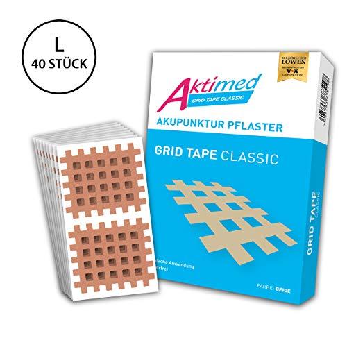 Aktimed GRID TAPE CLASSIC - Gitterpflaster/Pflaster in Gitterform - Tapen von Schmerz-, Akupunktur- und Triggerpunkten - Pflaster Größe Large - 40 Pflaster - je 4,4cm x 5,2cm…