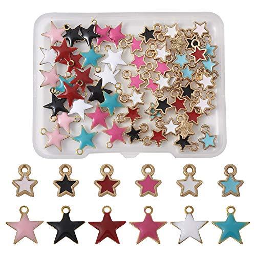 Cheriswelry 60 colgantes de estrella esmaltada, 6 colores, 5 puntos, estrellas brillantes, para joyas, pulseras, decoración de Navidad