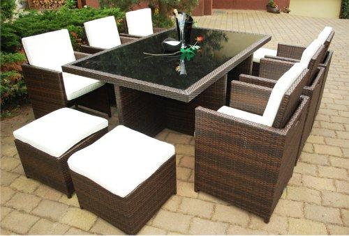 Ragnarök-Möbeldesign DEUTSCHE Marke - EIGNENE Produktion - 8 Jahre GARANTIE Garten Möbel Glas Polster PolyRattan Set Gartenmöbel Tisch Stuhl Hocker BRAUN