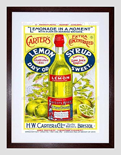 Wee Blauwe Coo Advertenties Drink Concentraat Citroen Siroop Carters Fles Bristol UK Kunst Omlijst Muur Art Print