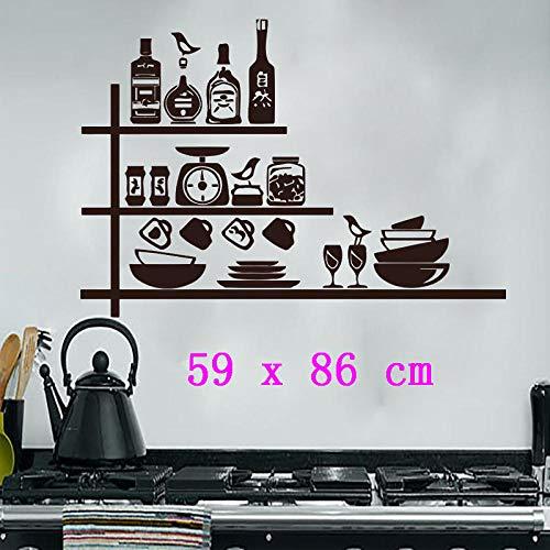 Vinyl abnehmbare Wandaufkleber kreative Keramik Gewürzregal Küche Wandaufkleber wasserdichte Wandaufkleber Dekoration @ 59 x 86 cm