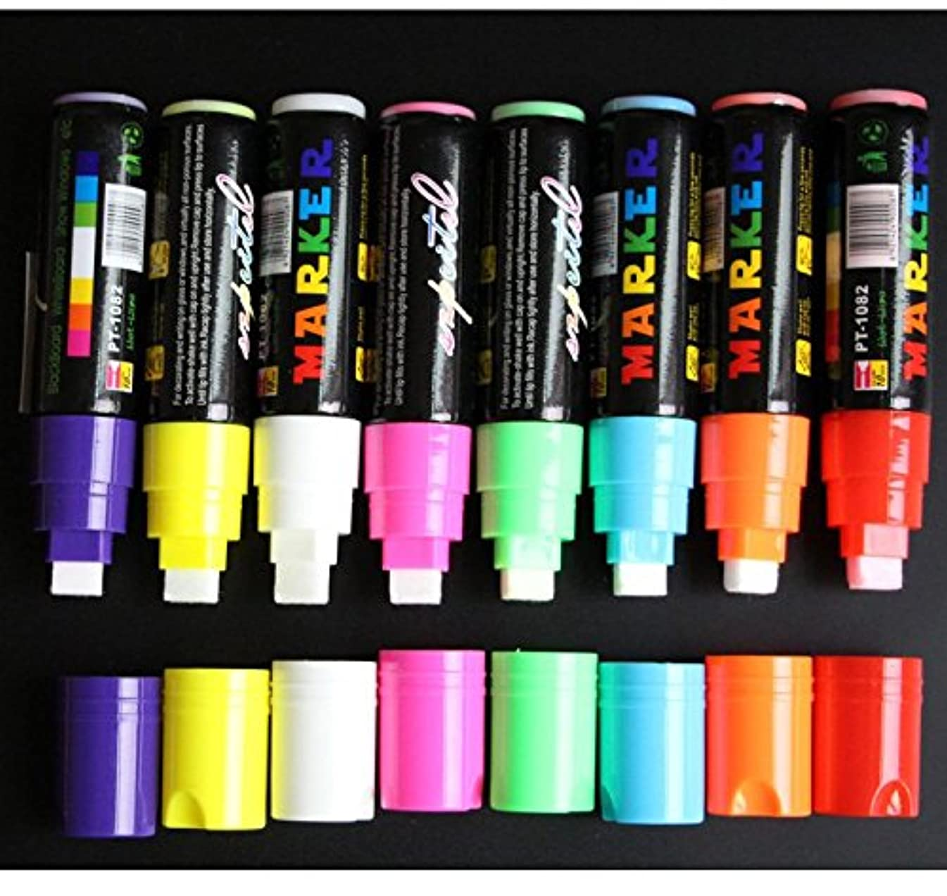 Chris-Wang 10MM Jumbo Tips Liquid Chalk Markers, Eraseable High Quality Vibrant Colors, Child Friendly, Use On Windows/Mirrors/LED Writing Board/Whiteboard/Chalkboard Labels - 8 Pack
