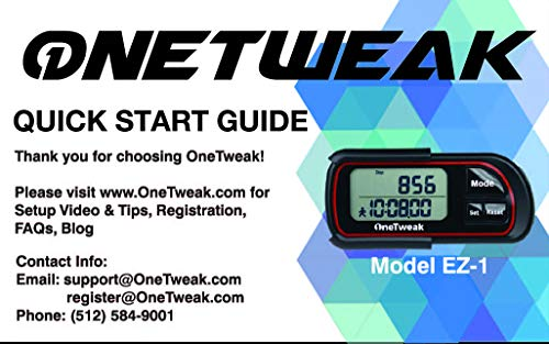 OneTweak New EZ-1 Pedometer for Walking. 3D Tri-Axis Clip-On....