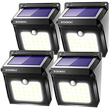ZOOKKI Solar Lights Outdoor 28 LED Wireless Motion Sensor Lights IP65 Waterproof Wall Light Easy-to-Install Security Lights for Outdoor Garden Patio Yard Deck Garage Driveway Fence 4 Pack