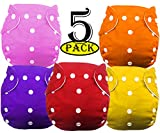 PACKAGE INCLUDES: SET OF 5 SIZE/AGE GROUP: 0 to 3 years SAVE YOUR FAMILY MONEY - cloth diapers are reusable and the best chemical free option for your baby's perfect bottom, Instead of wasting money away with each diaper change. HEALTHIER OPTION - Fe...