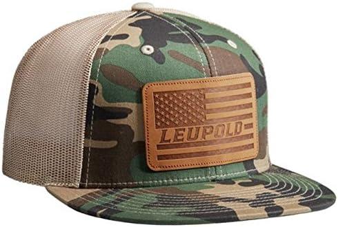 Leupold Leather Flag Flat Bill Trucker Hat, Camo/Khaki, 172593