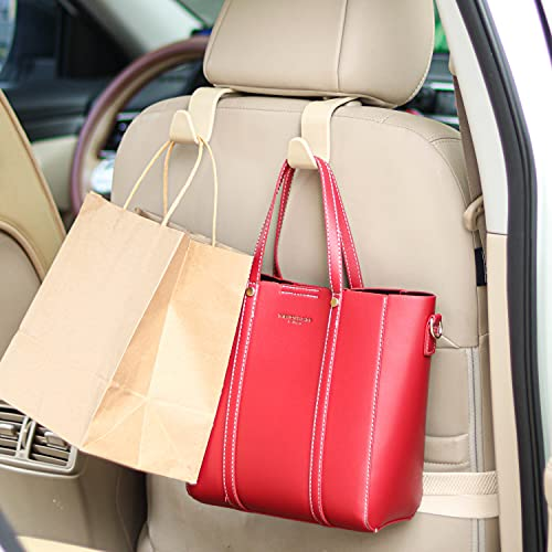 Universal Multifunctional Car Vehicle Headrest Hook, Organizer Hanger Storage Hook for Bag Purse Cloth Grocery (Beige Set of 4)