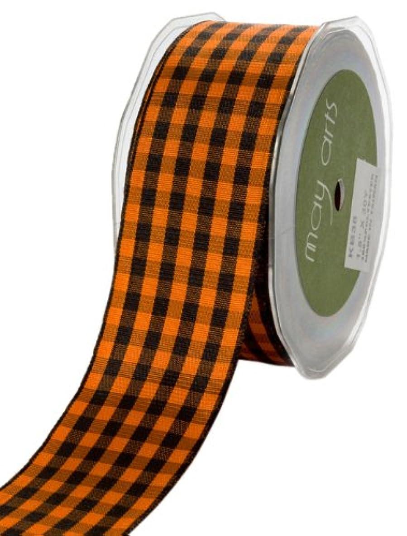 May Arts 3/16-Inch Wide Ribbon, Orange and Black Check