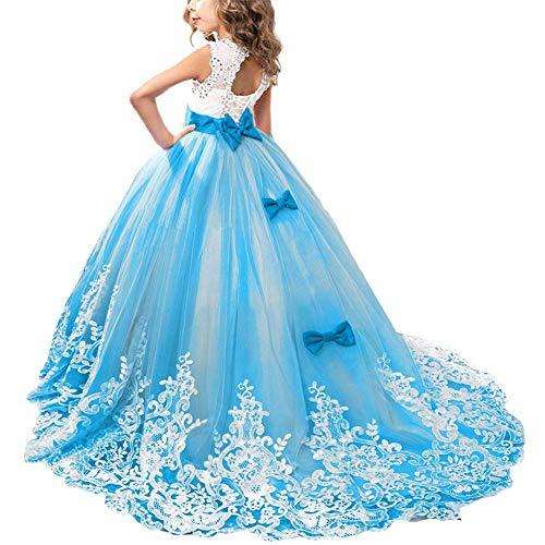 OBEEII Vestido de Niñas Boda Fiesta de Princesa Sin Mangas Encaje Rhinestone Elegantes Vestidos de Noche Comunión Ceremonia Gala Pageant Cóctel Prom 8-9 Años Cielo Azul