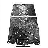 Corte de Baloncesto Negro Grunge Corte de Pelo Suave Capa de Pelo Smock e Impreso para Uso doméstico en el salón para Recortar el Cabello Recortar la Barba