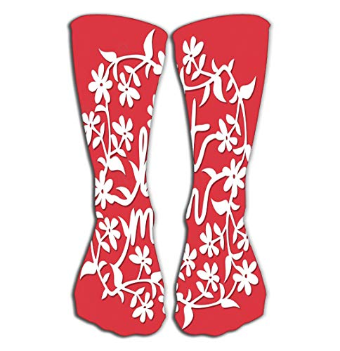 "YILINGER Women's Girls Men's Novelty Socks Funny Boot Sock 19.7""(50cm) Vintage Paper Cut Floral Vines Best mom Phrase lace Decoration lace White Set Against Variegated"
