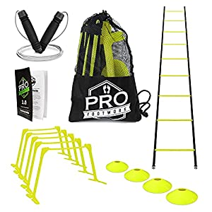 """Pro Footwork Agility Ladder and Hurdle Training Set by Bundle Includes 5 Adjustable Speed Hurdles (6"""", 9"""", 12"""") 