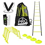 Pro Footwork Agility Ladder and Hurdle Training Set by Bundle Includes 5 Adjustable...