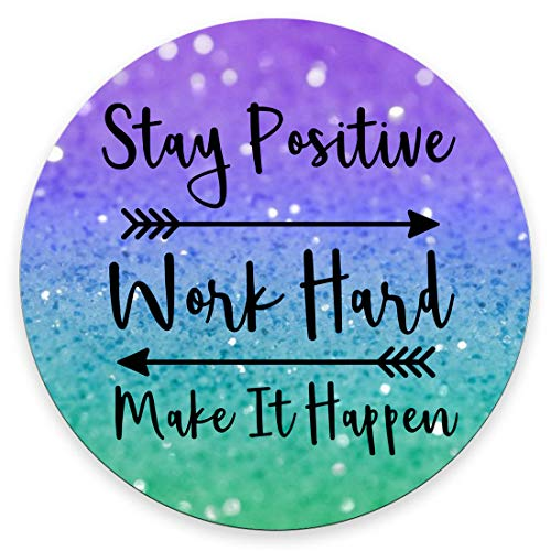 Amcove Round Gaming Mouse Pad Custom, Stay Positive Work Hard and Make It Happen Inspirational Quotes Round Mouse pad Art Purple Green Glitter Black Quote 7.9 x 7.9 x 0.12 Inch