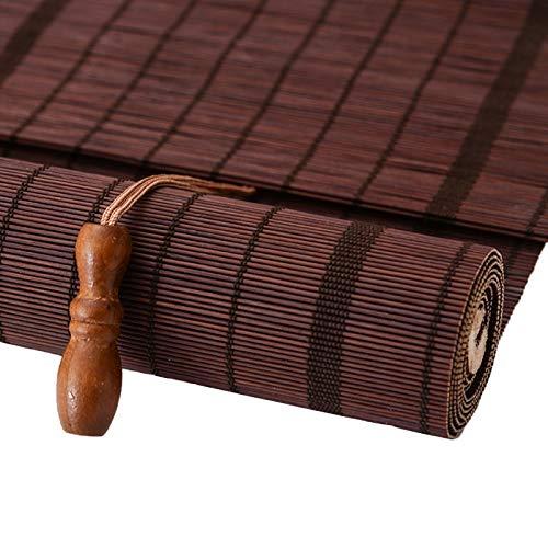 Estores Enrollables Cortina de Bambú de Estilo Japonés para La Terraza de La Sala de Estar del Patio Trasero, Persianas Enrollables Retro para Interiores, con Gancho, 130cm/110cm/90cm/70cm de Ancho