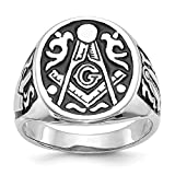 14k White Gold Mens Masonic Freemason Mason Band Ring Size 10.00 Man Fine Jewelry For Dad Mens Gifts For Him