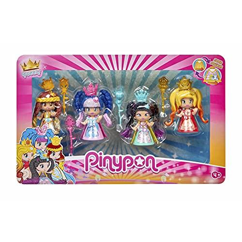 Pinypon- Pack 4 Queens, muñeca Figuras Reinas, Juguete...