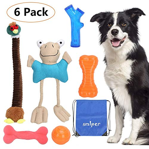 6 Pack Dog Toys Puppy Toys, Squeaky Toys Bacon Flavored Chew Toys for Aggressive Chewers Tough Ball Teething Toys for Small Medium Large Dog Pets